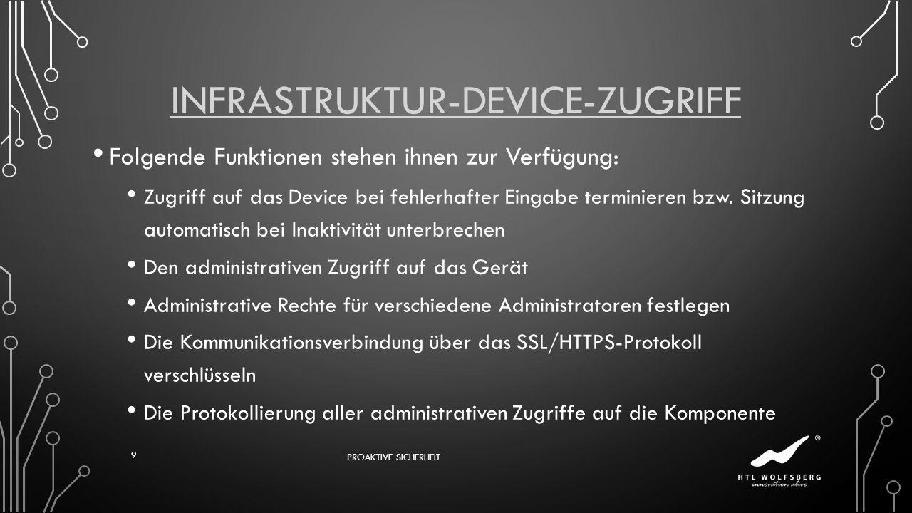 INFRASTRUKTUR-DEVICE-ZUGRIFF Folgende Funktionen stehen ihnen zur Verfügung: Zugriff auf das Device bei fehlerhafter Eingabe terminieren bzw. Sitzung
