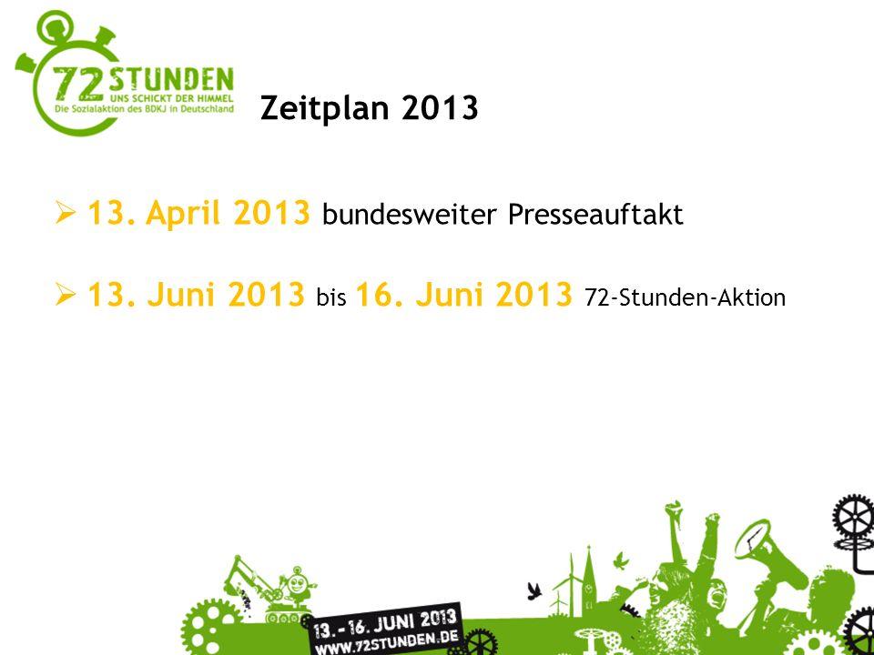 Überschrift Passender Untertitel zur Präsentation Zeitplan 2013 13. April 2013 bundesweiter Presseauftakt 13. Juni 2013 bis 16. Juni 2013 72-Stunden-A