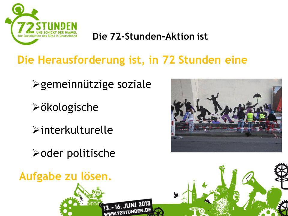 Überschrift Passender Untertitel zur Präsentation Die 72-Stunden-Aktion ist Die Herausforderung ist, in 72 Stunden eine gemeinnützige soziale ökologis