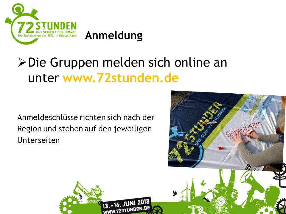 Überschrift Passender Untertitel zur Präsentation Anmeldung Die Gruppen melden sich online an unter www.72stunden.de Anmeldeschlüsse richten sich nach