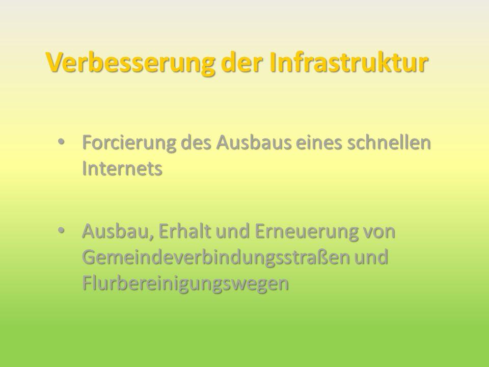 Verbesserung der Infrastruktur Forcierung des Ausbaus eines schnellen Internets Forcierung des Ausbaus eines schnellen Internets Ausbau, Erhalt und Er