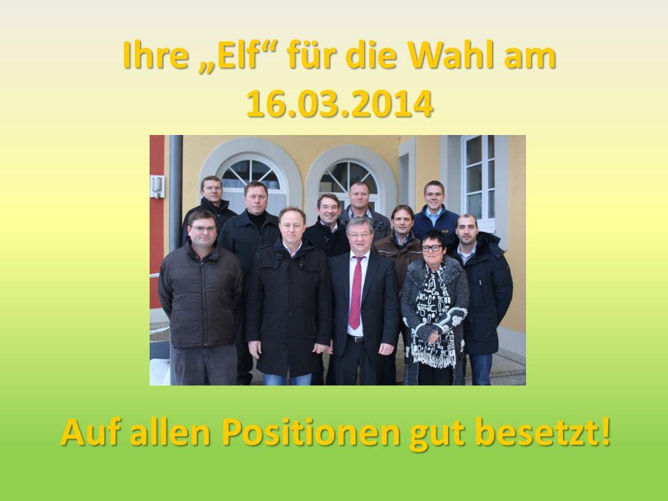 Ihre Elf für die Wahl am 16.03.2014 Bild Auf allen Positionen gut besetzt!