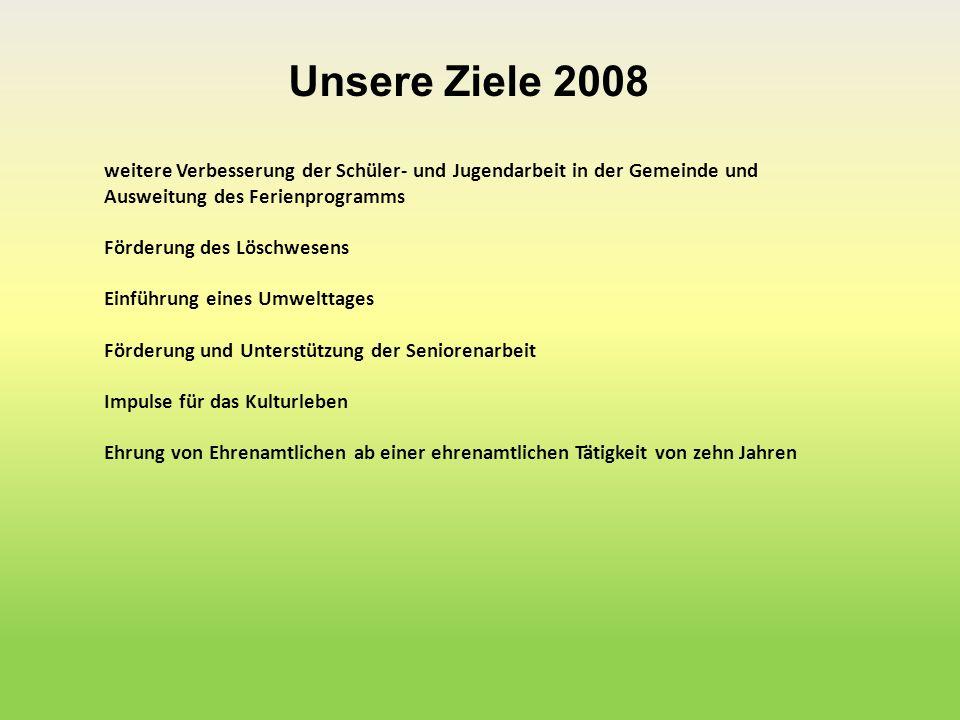 Unsere Ziele 2008 weitere Verbesserung der Schüler- und Jugendarbeit in der Gemeinde und Ausweitung des Ferienprogramms Förderung des Löschwesens Einf