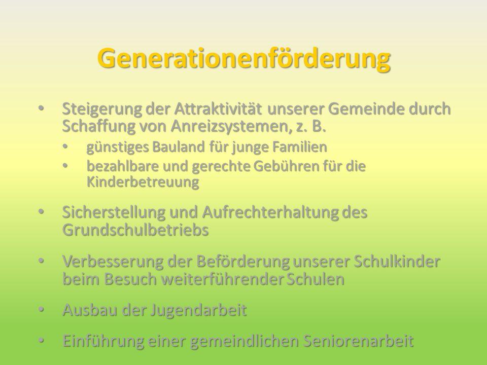 Generationenförderung Steigerung der Attraktivität unserer Gemeinde durch Schaffung von Anreizsystemen, z. B. Steigerung der Attraktivität unserer Gem