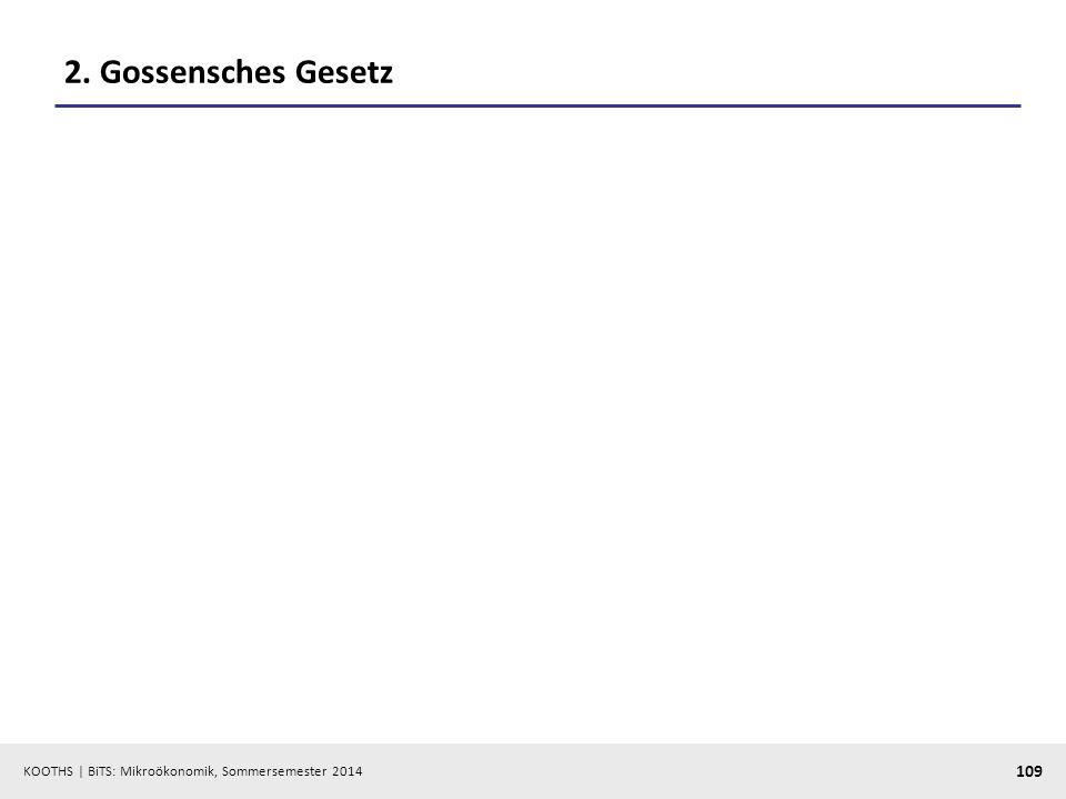 KOOTHS | BiTS: Mikroökonomik, Sommersemester 2014 109 2. Gossensches Gesetz
