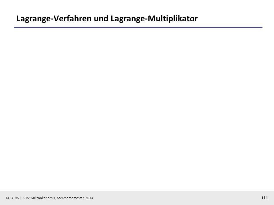 KOOTHS | BiTS: Mikroökonomik, Sommersemester 2014 111 Lagrange-Verfahren und Lagrange-Multiplikator