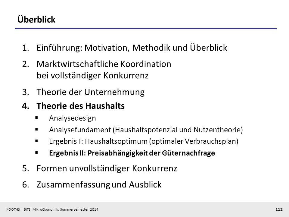 KOOTHS | BiTS: Mikroökonomik, Sommersemester 2014 112 Überblick 1.Einführung: Motivation, Methodik und Überblick 2.Marktwirtschaftliche Koordination b
