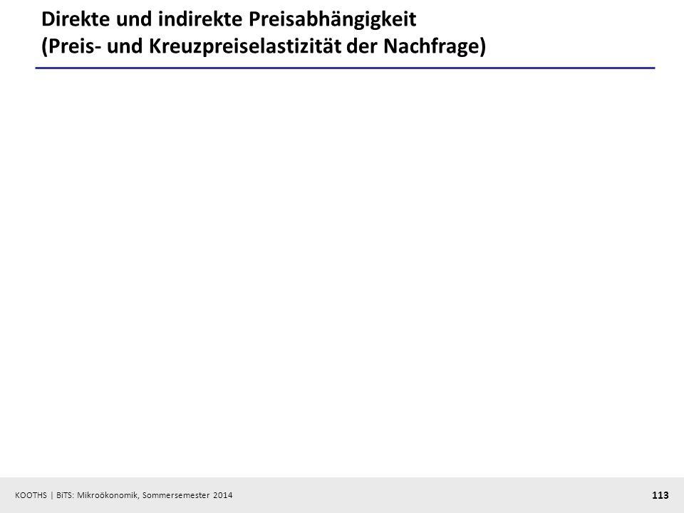 KOOTHS | BiTS: Mikroökonomik, Sommersemester 2014 113 Direkte und indirekte Preisabhängigkeit (Preis- und Kreuzpreiselastizität der Nachfrage)