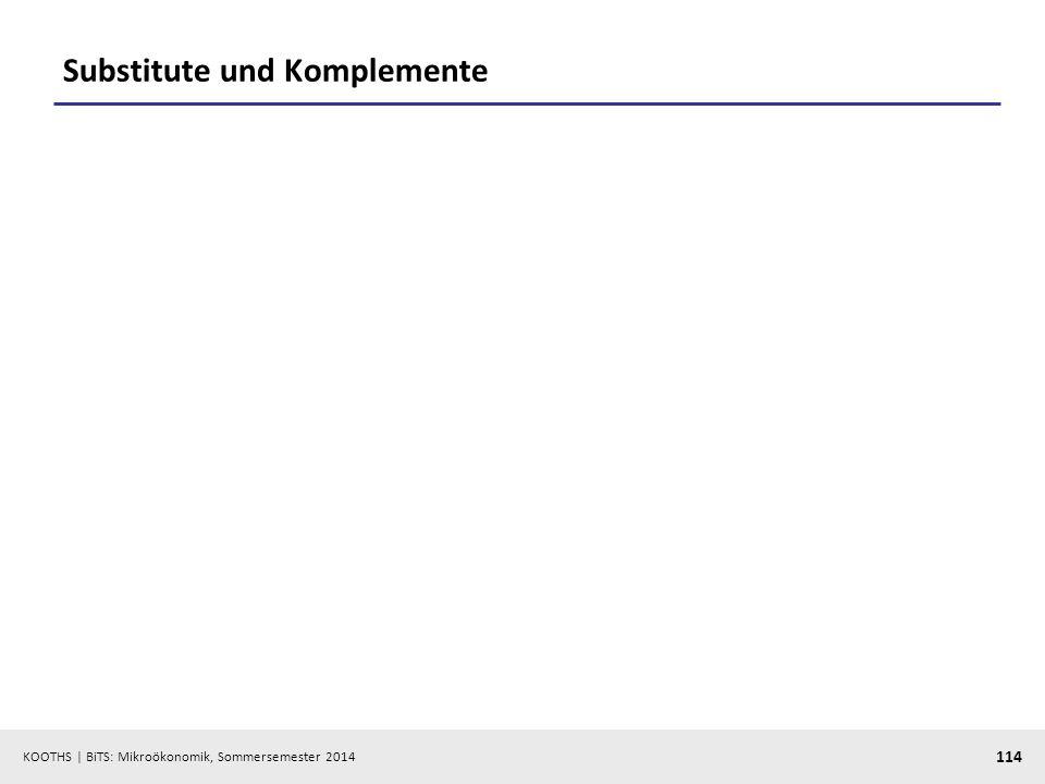 KOOTHS | BiTS: Mikroökonomik, Sommersemester 2014 114 Substitute und Komplemente