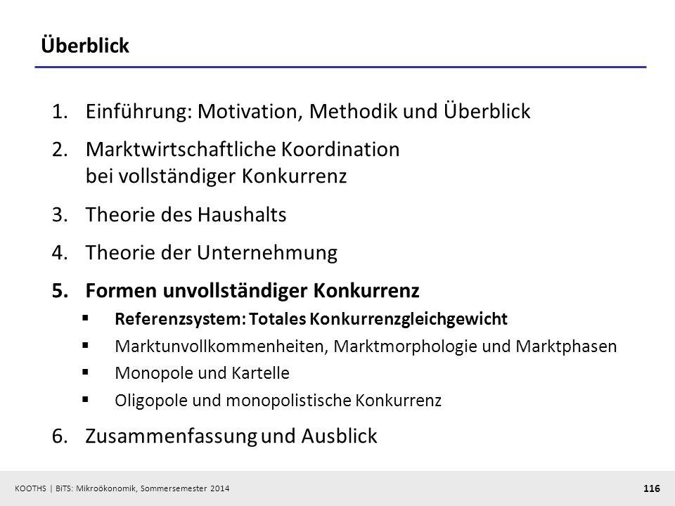 KOOTHS | BiTS: Mikroökonomik, Sommersemester 2014 116 Überblick 1.Einführung: Motivation, Methodik und Überblick 2.Marktwirtschaftliche Koordination b