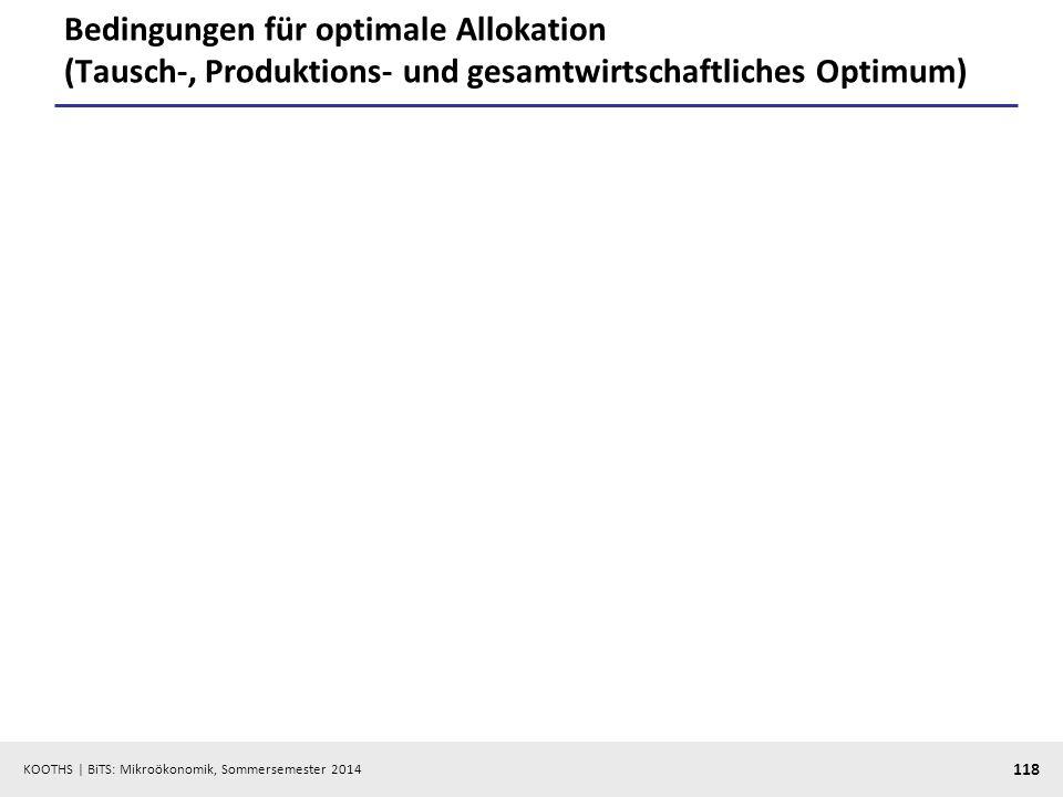 KOOTHS | BiTS: Mikroökonomik, Sommersemester 2014 118 Bedingungen für optimale Allokation (Tausch-, Produktions- und gesamtwirtschaftliches Optimum)
