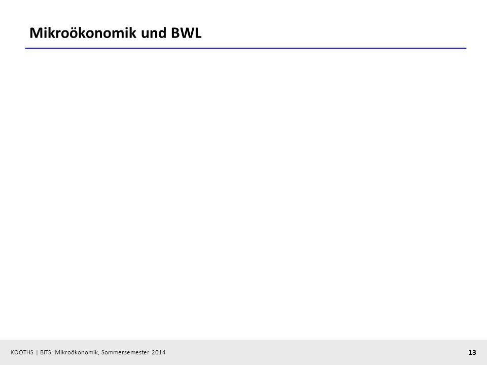 KOOTHS | BiTS: Mikroökonomik, Sommersemester 2014 13 Mikroökonomik und BWL