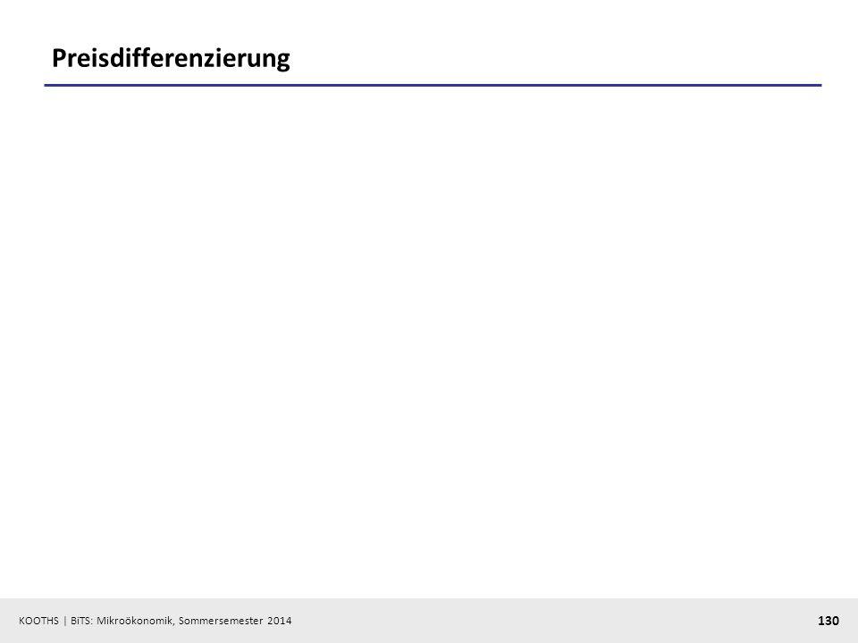 KOOTHS | BiTS: Mikroökonomik, Sommersemester 2014 130 Preisdifferenzierung