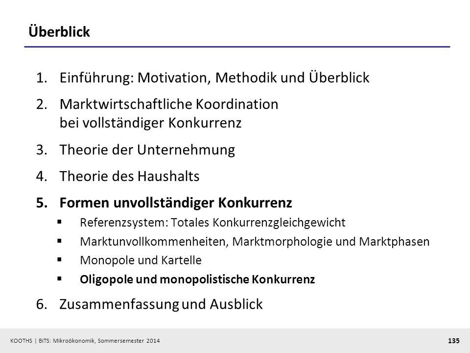 KOOTHS | BiTS: Mikroökonomik, Sommersemester 2014 135 Überblick 1.Einführung: Motivation, Methodik und Überblick 2.Marktwirtschaftliche Koordination b