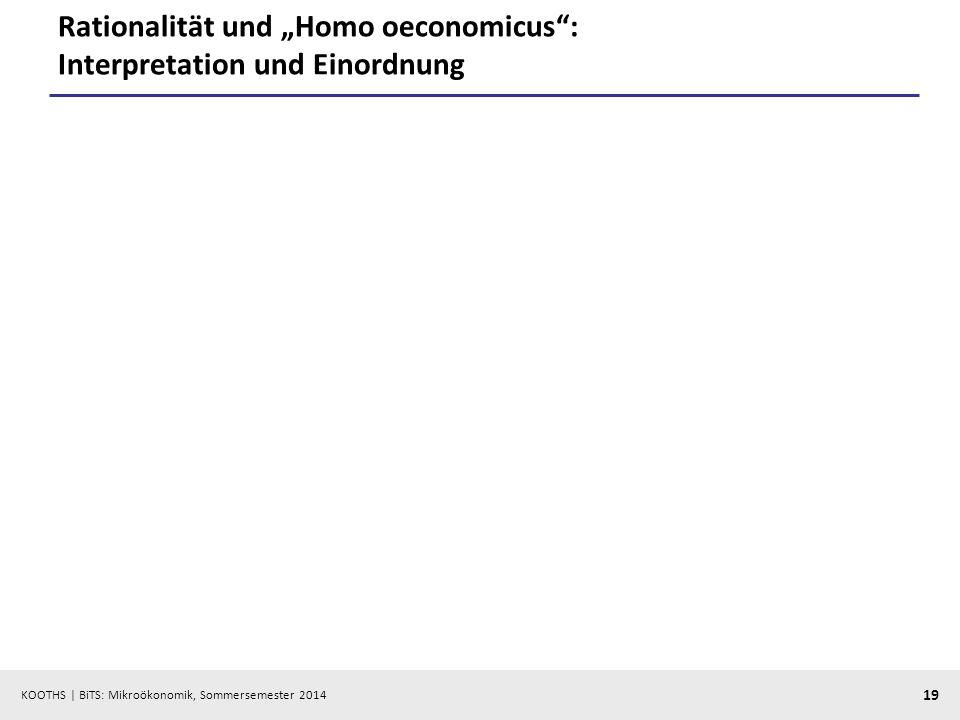 KOOTHS | BiTS: Mikroökonomik, Sommersemester 2014 19 Rationalität und Homo oeconomicus: Interpretation und Einordnung