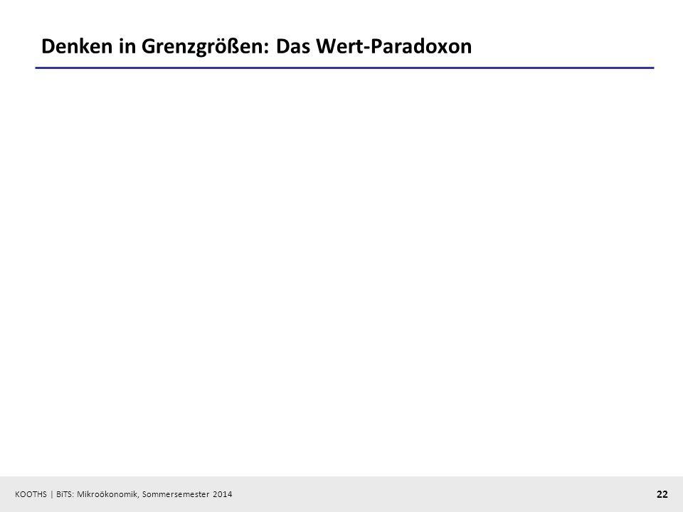 KOOTHS | BiTS: Mikroökonomik, Sommersemester 2014 22 Denken in Grenzgrößen: Das Wert-Paradoxon
