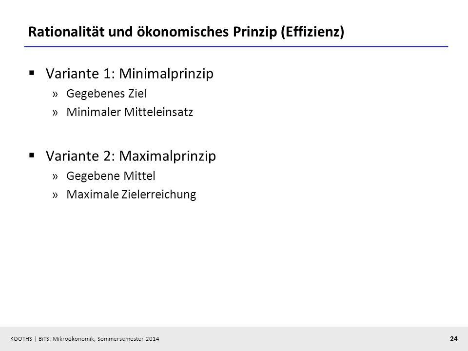 KOOTHS | BiTS: Mikroökonomik, Sommersemester 2014 24 Rationalität und ökonomisches Prinzip (Effizienz) Variante 1: Minimalprinzip »Gegebenes Ziel »Min