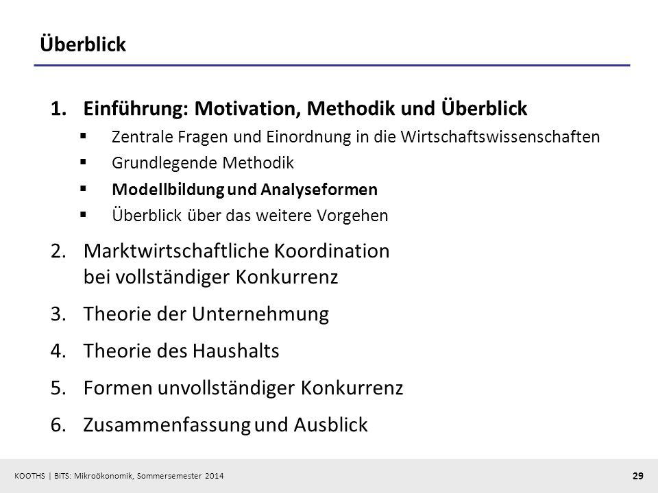 KOOTHS | BiTS: Mikroökonomik, Sommersemester 2014 29 Überblick 1.Einführung: Motivation, Methodik und Überblick Zentrale Fragen und Einordnung in die
