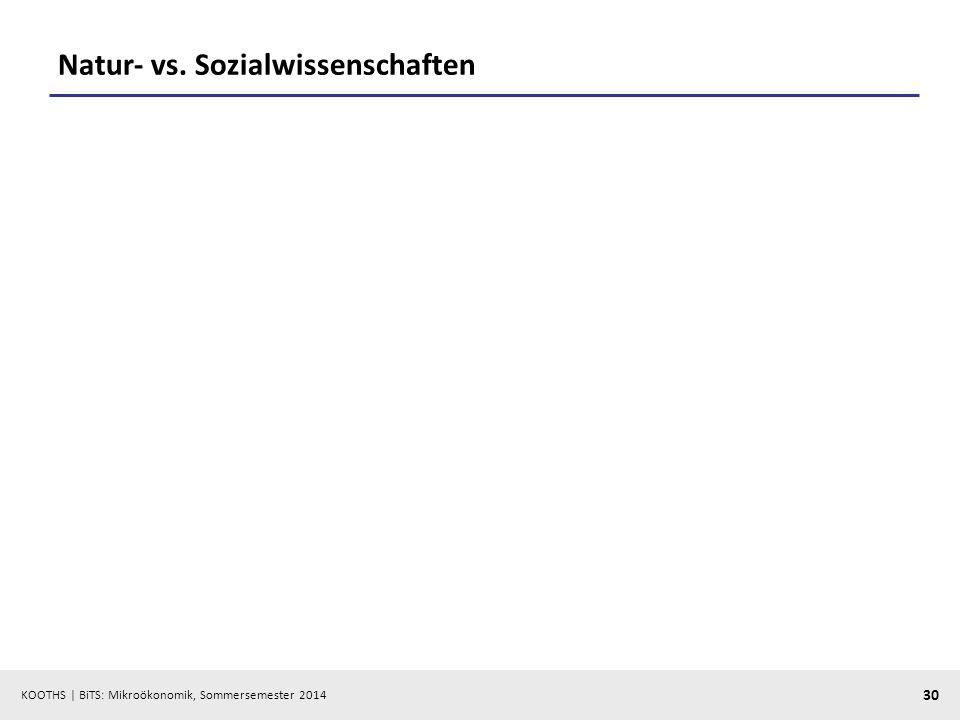 KOOTHS | BiTS: Mikroökonomik, Sommersemester 2014 30 Natur- vs. Sozialwissenschaften