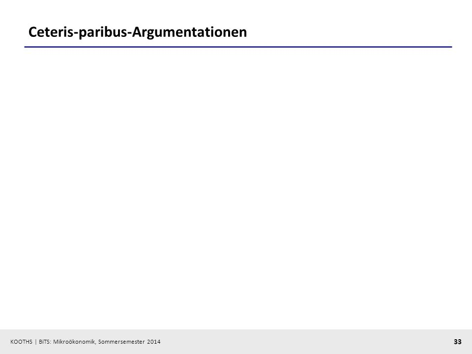 KOOTHS | BiTS: Mikroökonomik, Sommersemester 2014 33 Ceteris-paribus-Argumentationen