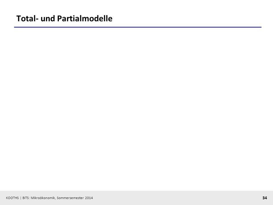 KOOTHS | BiTS: Mikroökonomik, Sommersemester 2014 34 Total- und Partialmodelle