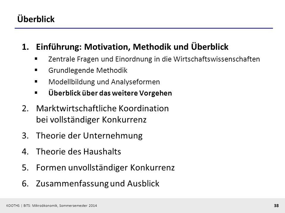 KOOTHS | BiTS: Mikroökonomik, Sommersemester 2014 38 Überblick 1.Einführung: Motivation, Methodik und Überblick Zentrale Fragen und Einordnung in die