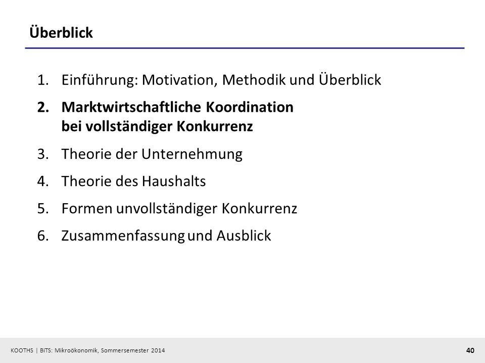 KOOTHS | BiTS: Mikroökonomik, Sommersemester 2014 40 Überblick 1.Einführung: Motivation, Methodik und Überblick 2.Marktwirtschaftliche Koordination be