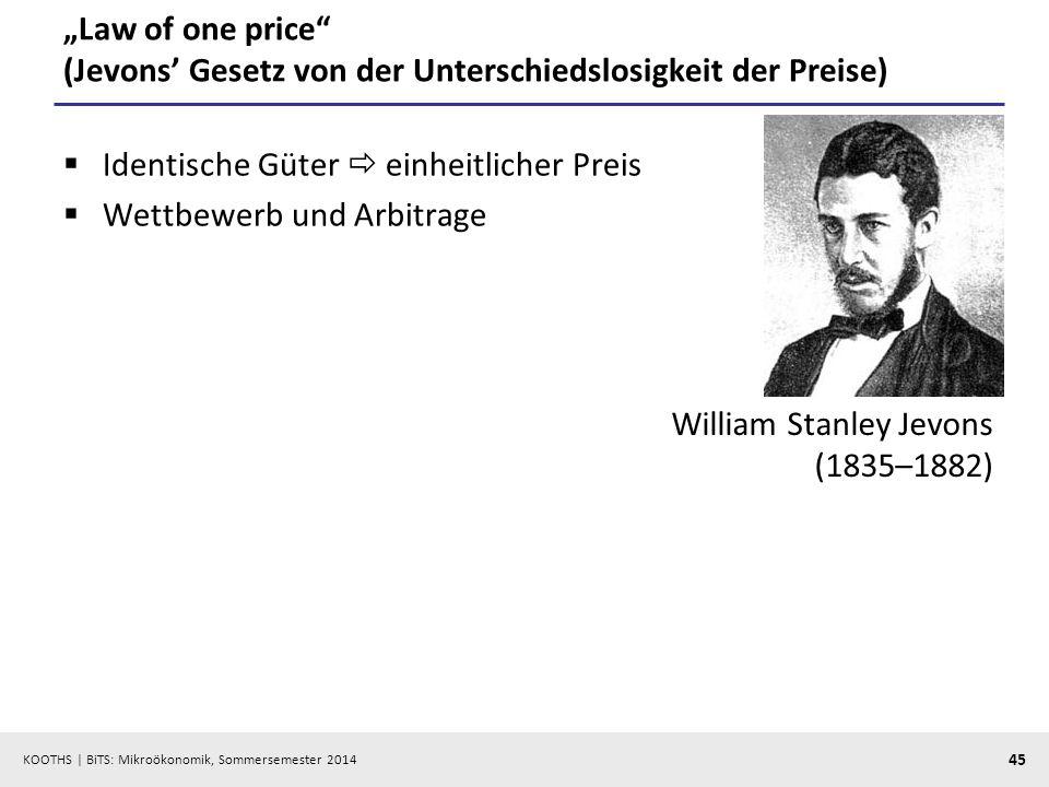 KOOTHS | BiTS: Mikroökonomik, Sommersemester 2014 45 Law of one price (Jevons Gesetz von der Unterschiedslosigkeit der Preise) Identische Güter einheitlicher Preis Wettbewerb und Arbitrage William Stanley Jevons (1835–1882)