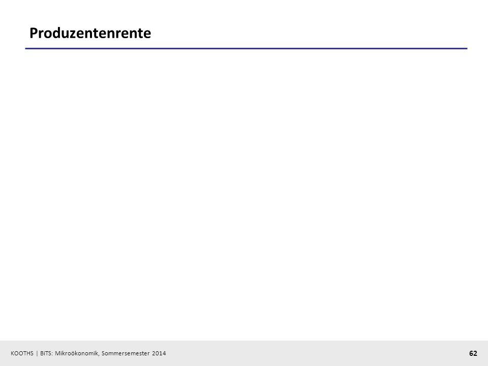 KOOTHS | BiTS: Mikroökonomik, Sommersemester 2014 62 Produzentenrente