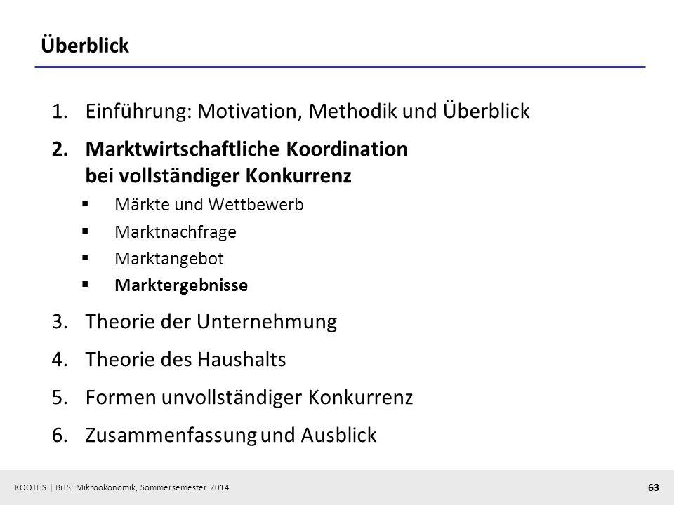 KOOTHS | BiTS: Mikroökonomik, Sommersemester 2014 63 Überblick 1.Einführung: Motivation, Methodik und Überblick 2.Marktwirtschaftliche Koordination be