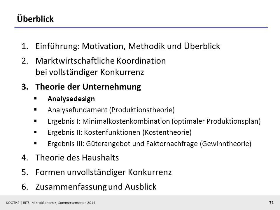 KOOTHS | BiTS: Mikroökonomik, Sommersemester 2014 71 Überblick 1.Einführung: Motivation, Methodik und Überblick 2.Marktwirtschaftliche Koordination be