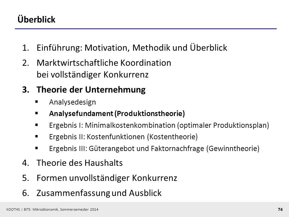 KOOTHS | BiTS: Mikroökonomik, Sommersemester 2014 74 Überblick 1.Einführung: Motivation, Methodik und Überblick 2.Marktwirtschaftliche Koordination be