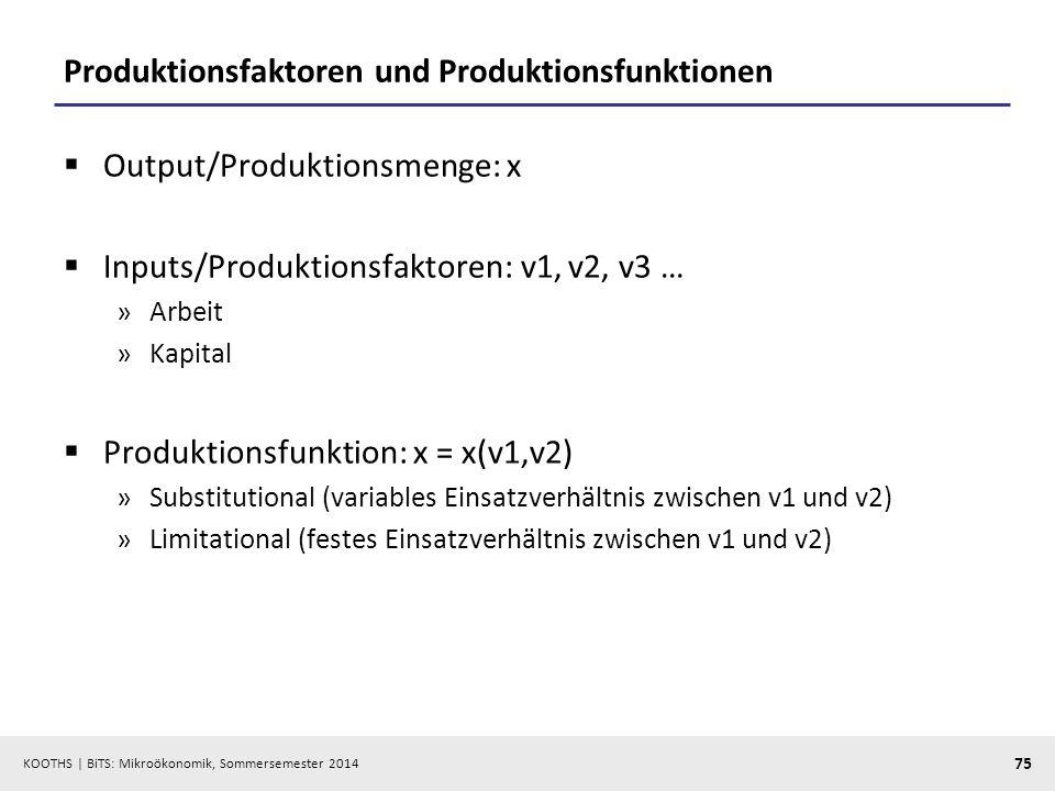KOOTHS | BiTS: Mikroökonomik, Sommersemester 2014 75 Produktionsfaktoren und Produktionsfunktionen Output/Produktionsmenge: x Inputs/Produktionsfaktoren: v1, v2, v3 … »Arbeit »Kapital Produktionsfunktion: x = x(v1,v2) »Substitutional (variables Einsatzverhältnis zwischen v1 und v2) »Limitational (festes Einsatzverhältnis zwischen v1 und v2)