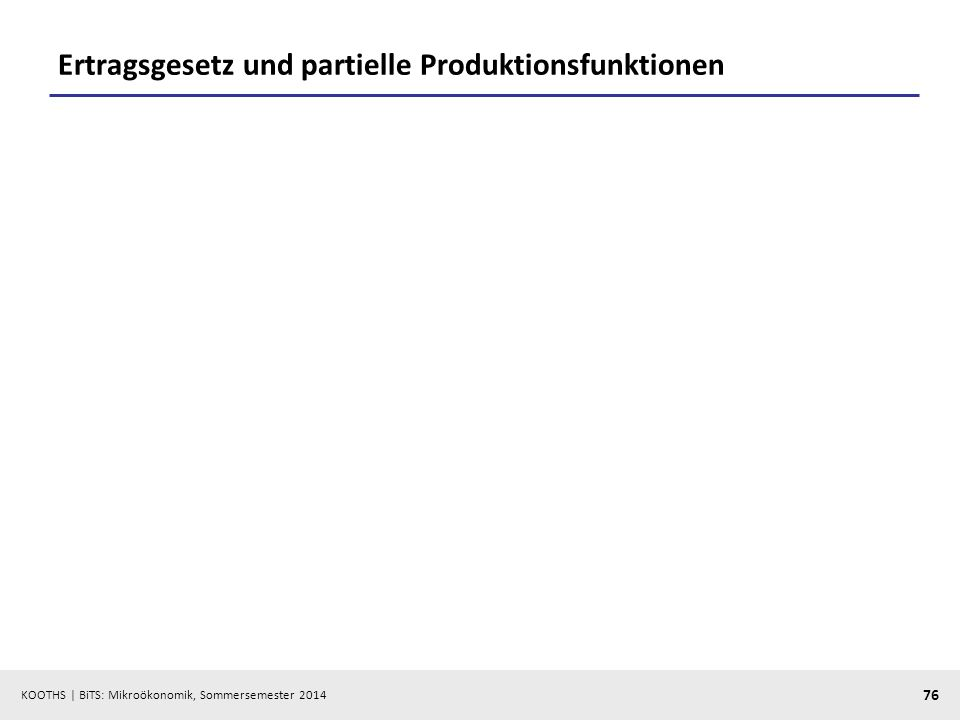 KOOTHS | BiTS: Mikroökonomik, Sommersemester 2014 76 Ertragsgesetz und partielle Produktionsfunktionen
