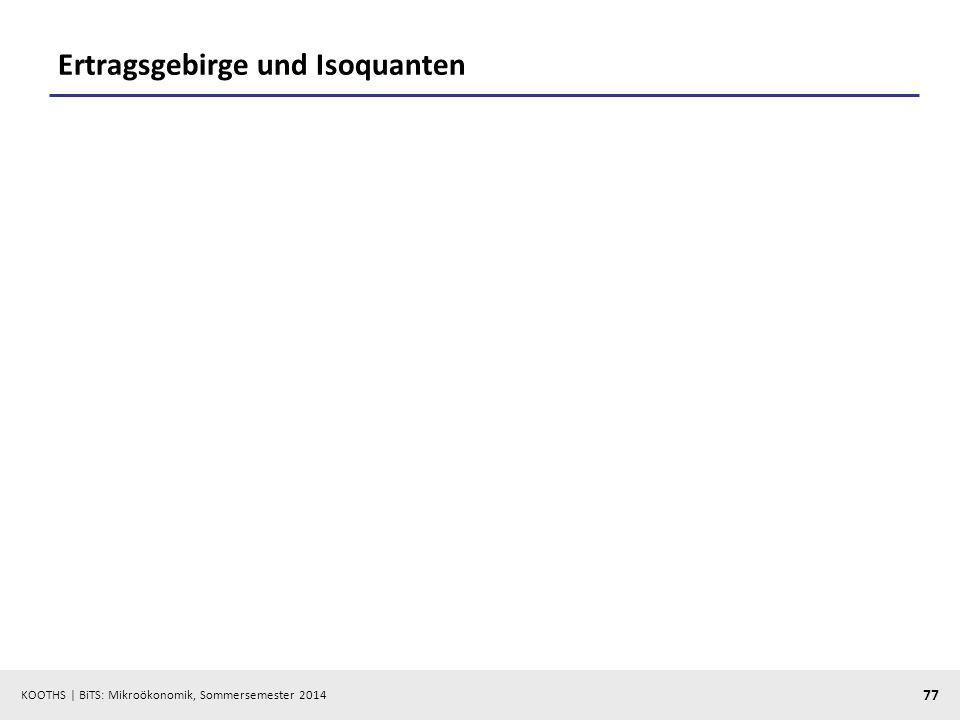 KOOTHS | BiTS: Mikroökonomik, Sommersemester 2014 77 Ertragsgebirge und Isoquanten