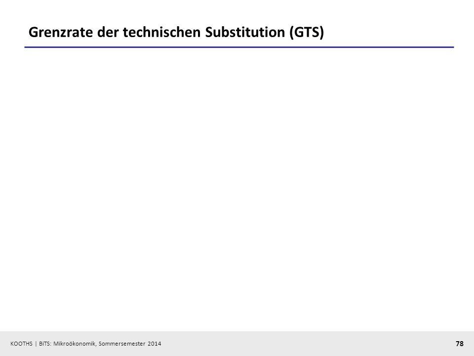 KOOTHS | BiTS: Mikroökonomik, Sommersemester 2014 78 Grenzrate der technischen Substitution (GTS)