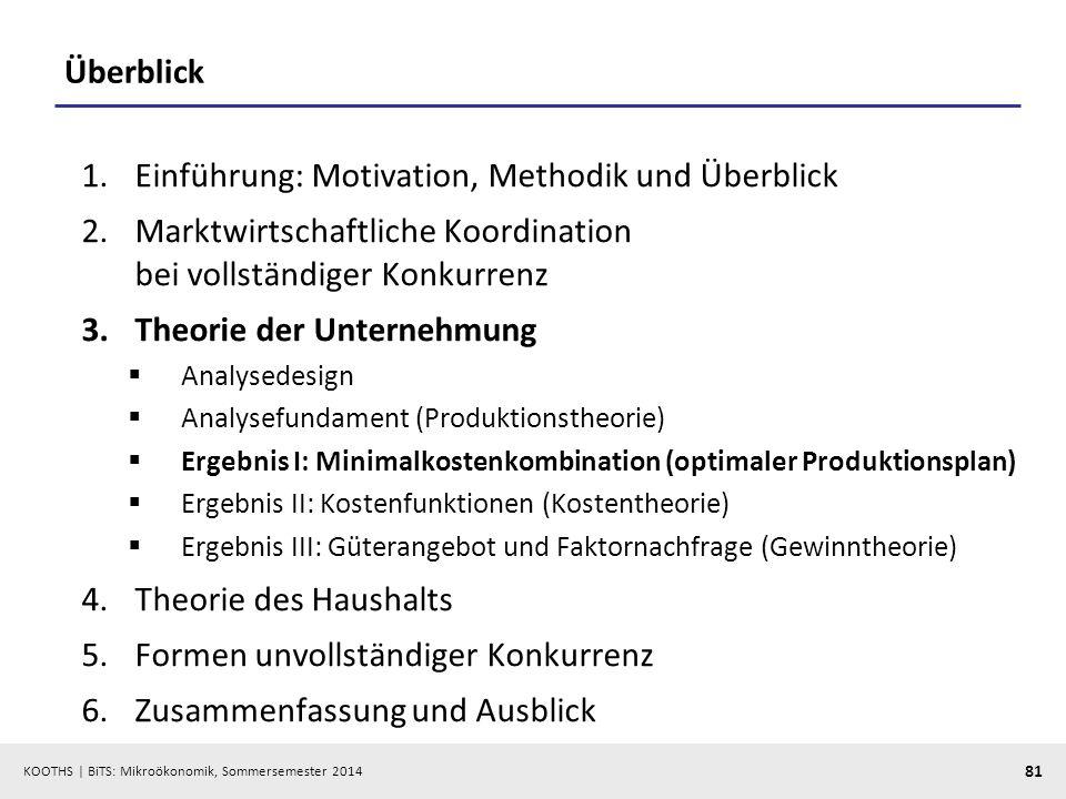 KOOTHS | BiTS: Mikroökonomik, Sommersemester 2014 81 Überblick 1.Einführung: Motivation, Methodik und Überblick 2.Marktwirtschaftliche Koordination be