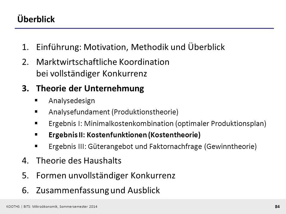 KOOTHS | BiTS: Mikroökonomik, Sommersemester 2014 84 Überblick 1.Einführung: Motivation, Methodik und Überblick 2.Marktwirtschaftliche Koordination be