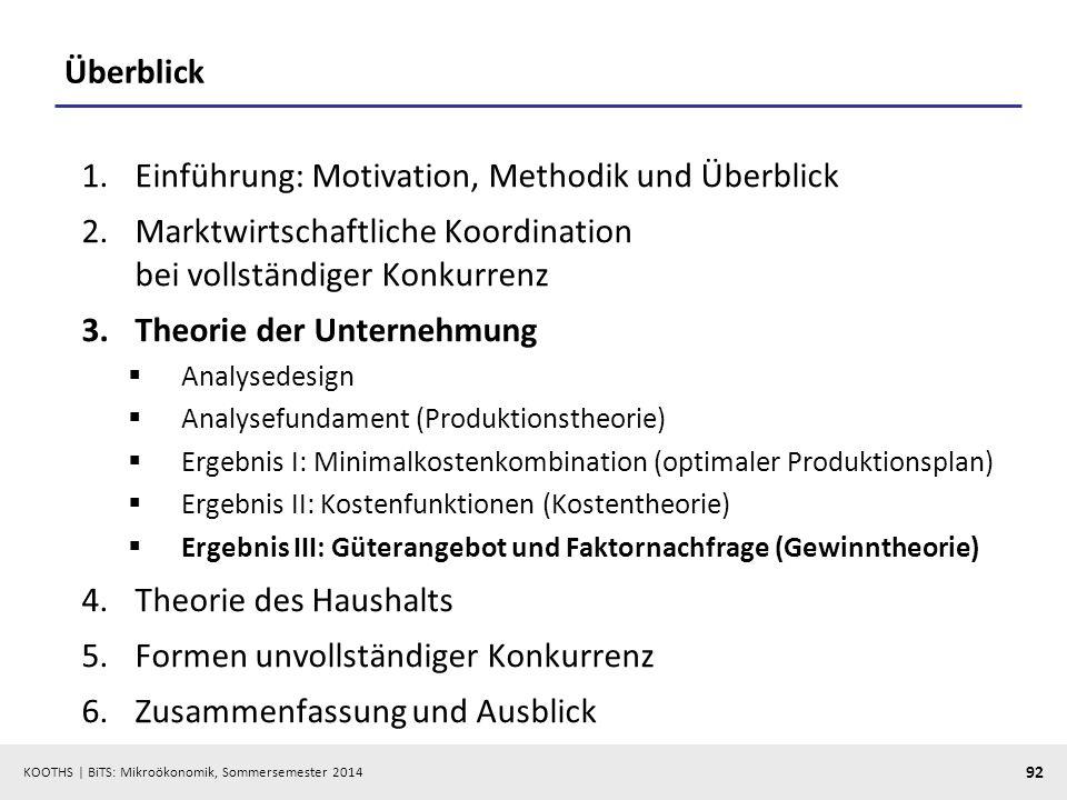 KOOTHS | BiTS: Mikroökonomik, Sommersemester 2014 92 Überblick 1.Einführung: Motivation, Methodik und Überblick 2.Marktwirtschaftliche Koordination be