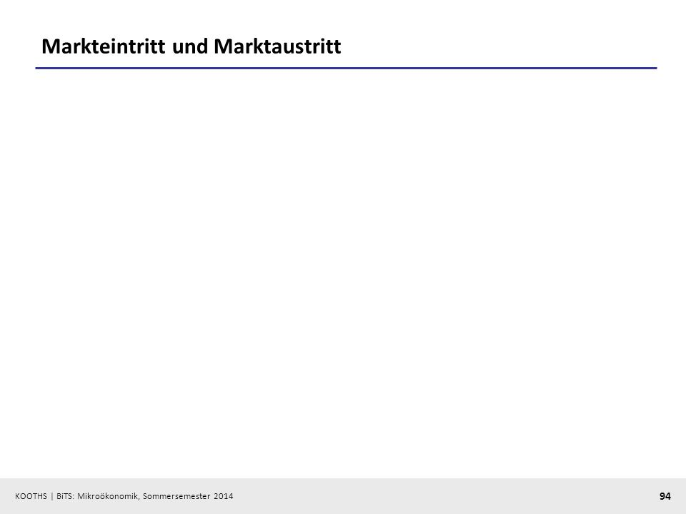 KOOTHS | BiTS: Mikroökonomik, Sommersemester 2014 94 Markteintritt und Marktaustritt