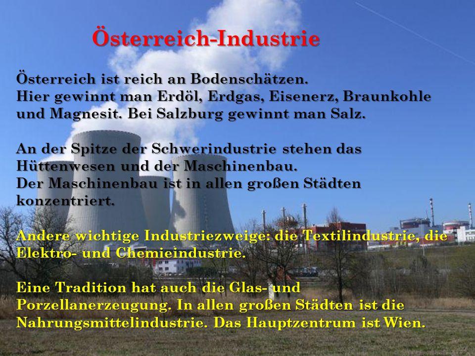 Österreich-Industrie Österreich-Industrie Österreich ist reich an Bodenschätzen. Hier gewinnt man Erdöl, Erdgas, Eisenerz, Braunkohle und Magnesit. Be