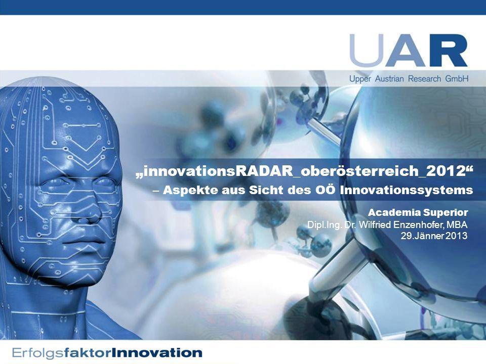 1 innovationsRADAR_oberösterreich_2012 – Aspekte aus Sicht des OÖ Innovationssystems Academia Superior Dipl.Ing.