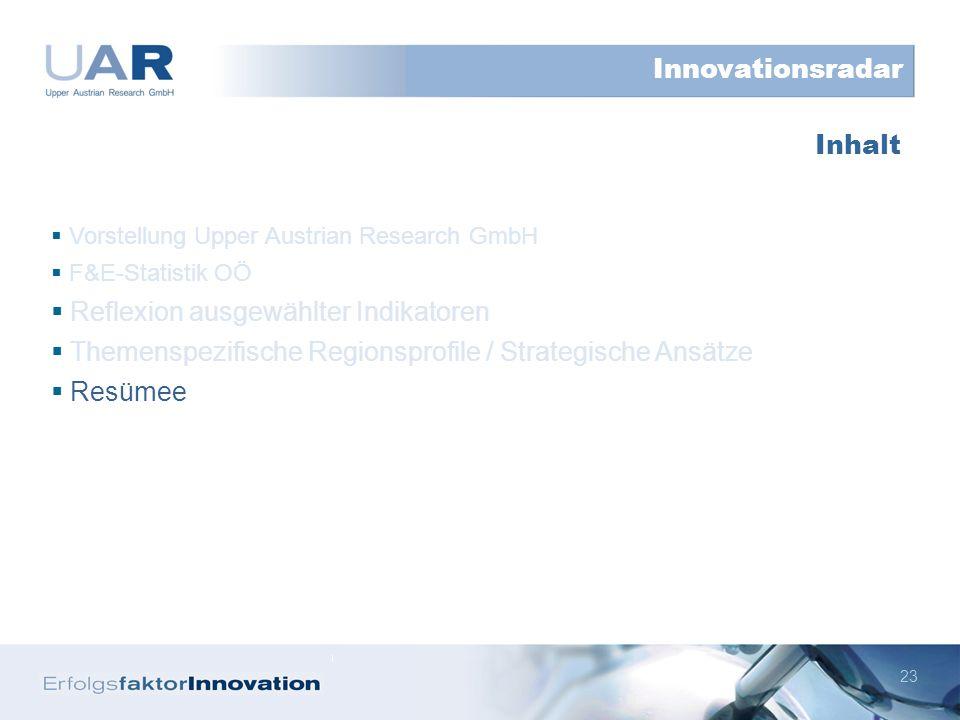 23 Vorstellung Upper Austrian Research GmbH F&E-Statistik OÖ Reflexion ausgewählter Indikatoren Themenspezifische Regionsprofile / Strategische Ansätze Resümee Inhalt Innovationsradar