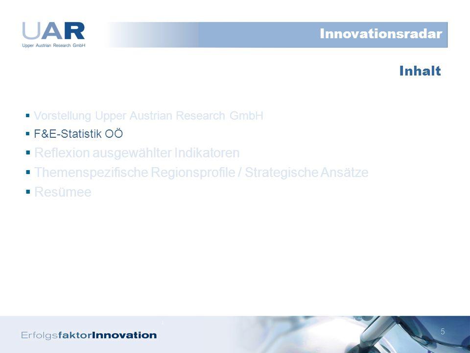16 Vorstellung Upper Austrian Research GmbH F&E-Statistik OÖ Reflexion ausgewählter Indikatoren Themenspezifische Regionsprofile / Strategische Ansätze Resümee Inhalt Innovationsradar