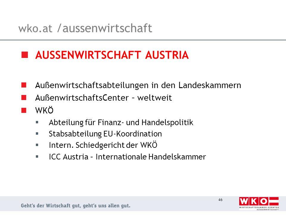 46 wko.at /aussenwirtschaft AUSSENWIRTSCHAFT AUSTRIA Außenwirtschaftsabteilungen in den Landeskammern AußenwirtschaftsCenter – weltweit WKÖ Abteilung