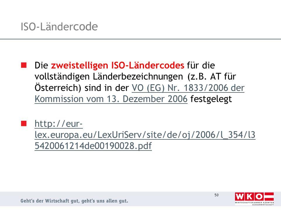 50 ISO-Länder code Die zweistelligen ISO-Ländercodes für die vollständigen Länderbezeichnungen (z.B. AT für Österreich) sind in der VO (EG) Nr. 1833/2