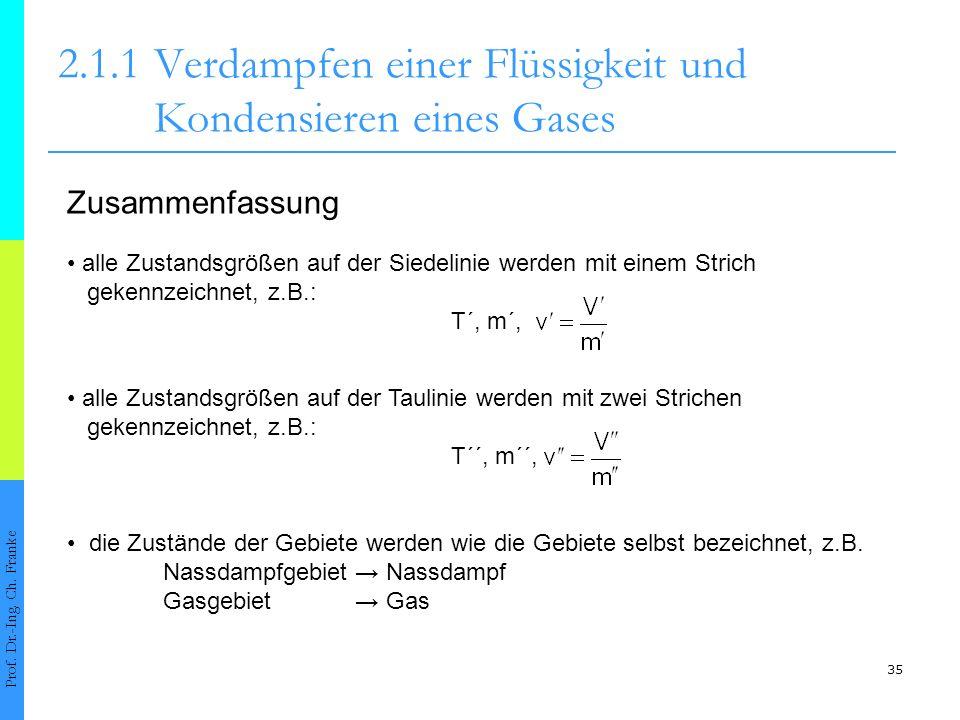 35 2.1.1Verdampfen einer Flüssigkeit und Kondensieren eines Gases Prof. Dr.-Ing. Ch. Franke Zusammenfassung alle Zustandsgrößen auf der Siedelinie wer