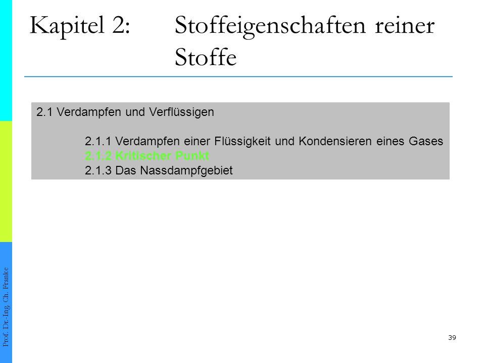 39 Kapitel 2:Stoffeigenschaften reiner Stoffe Prof. Dr.-Ing. Ch. Franke 2.1 Verdampfen und Verflüssigen 2.1.1 Verdampfen einer Flüssigkeit und Kondens
