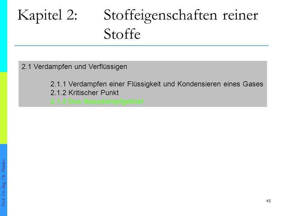 45 Kapitel 2:Stoffeigenschaften reiner Stoffe Prof. Dr.-Ing. Ch. Franke 2.1 Verdampfen und Verflüssigen 2.1.1 Verdampfen einer Flüssigkeit und Kondens
