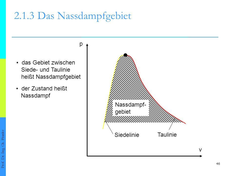 46 2.1.3Das Nassdampfgebiet Prof. Dr.-Ing. Ch. Franke p v Nassdampf- gebiet Siedelinie Taulinie das Gebiet zwischen Siede- und Taulinie heißt Nassdamp